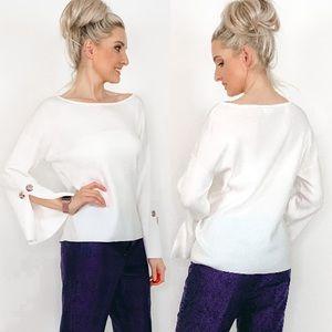 White Oversized Sweater Top Shirt